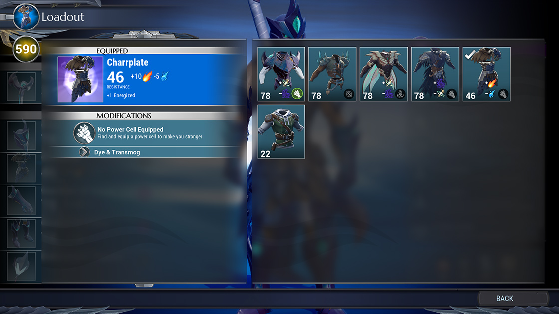 Armour Selection View