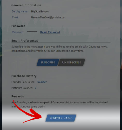 Click Register Name